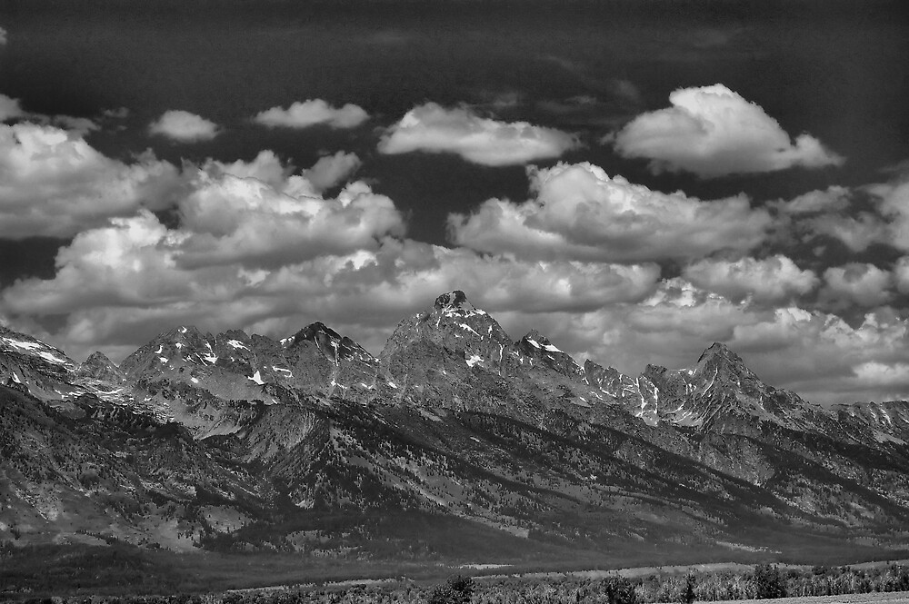 View of Clouded Grand Tetons by Jawaher