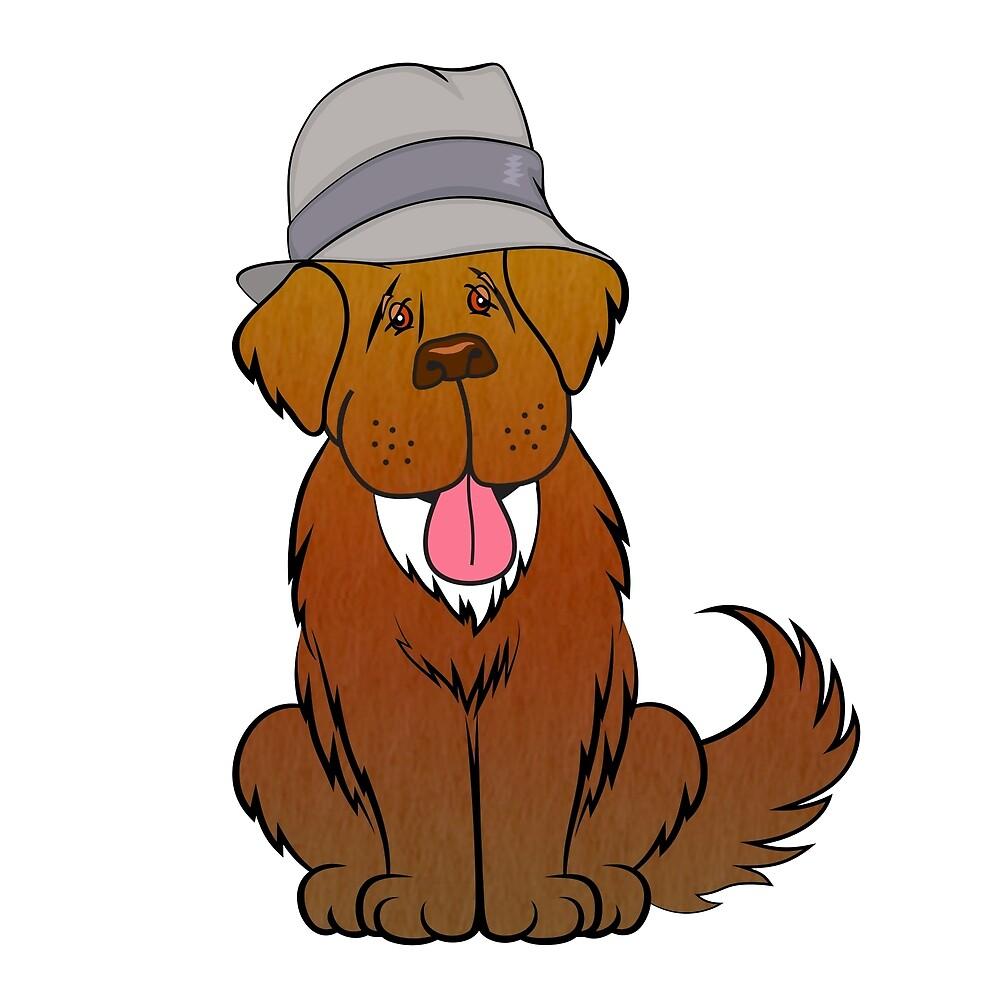 Newfoundland dog in hat by Christine Mullis