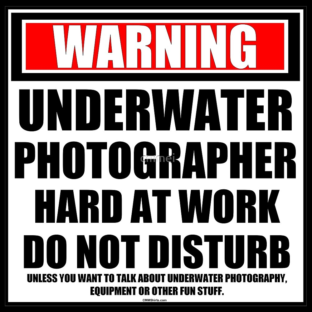 Warning Underwater Photographer Hard At Work Do Not Disturb by cmmei