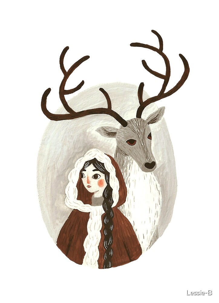 Deer with a girl by Lessie-B