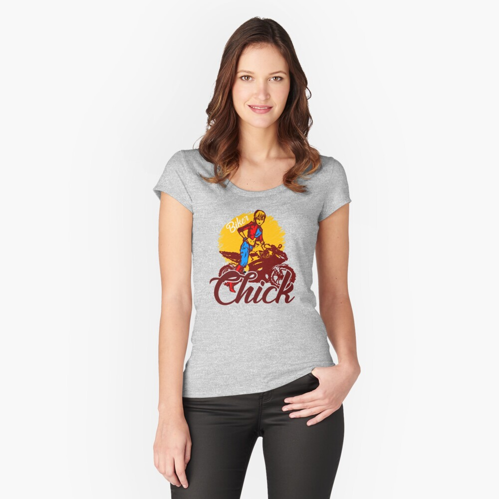 Biker Chick Graphic Design Women's Fitted Scoop T-Shirt Front