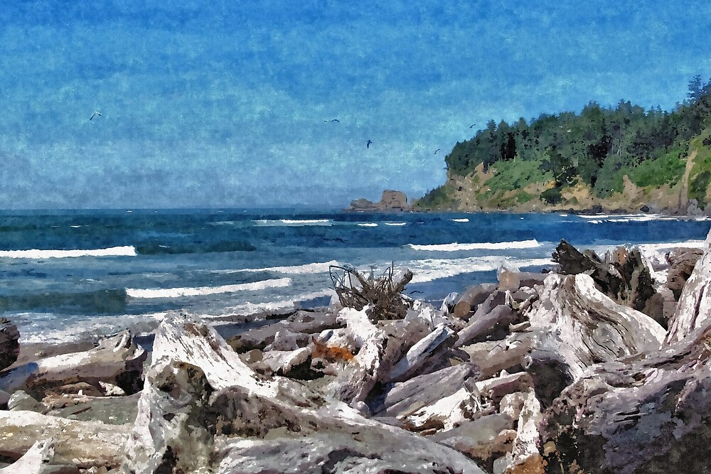 Driftwood Along A Pacific Northwest Beach 2 - Artistic by jtrommer