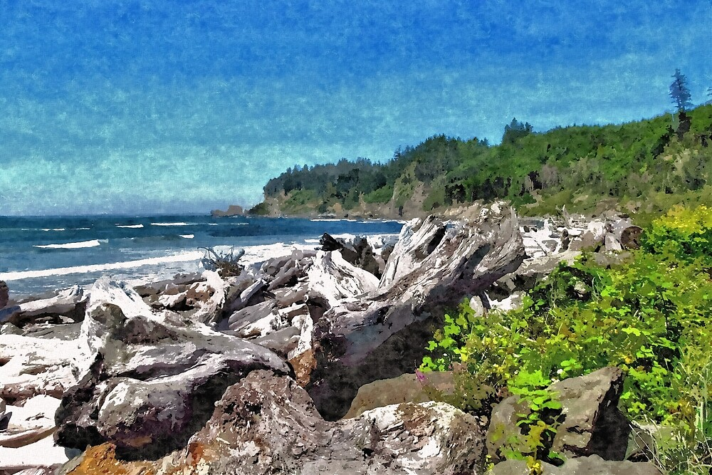 Driftwood Along A Pacific North West Beach 1 - Artistic by jtrommer