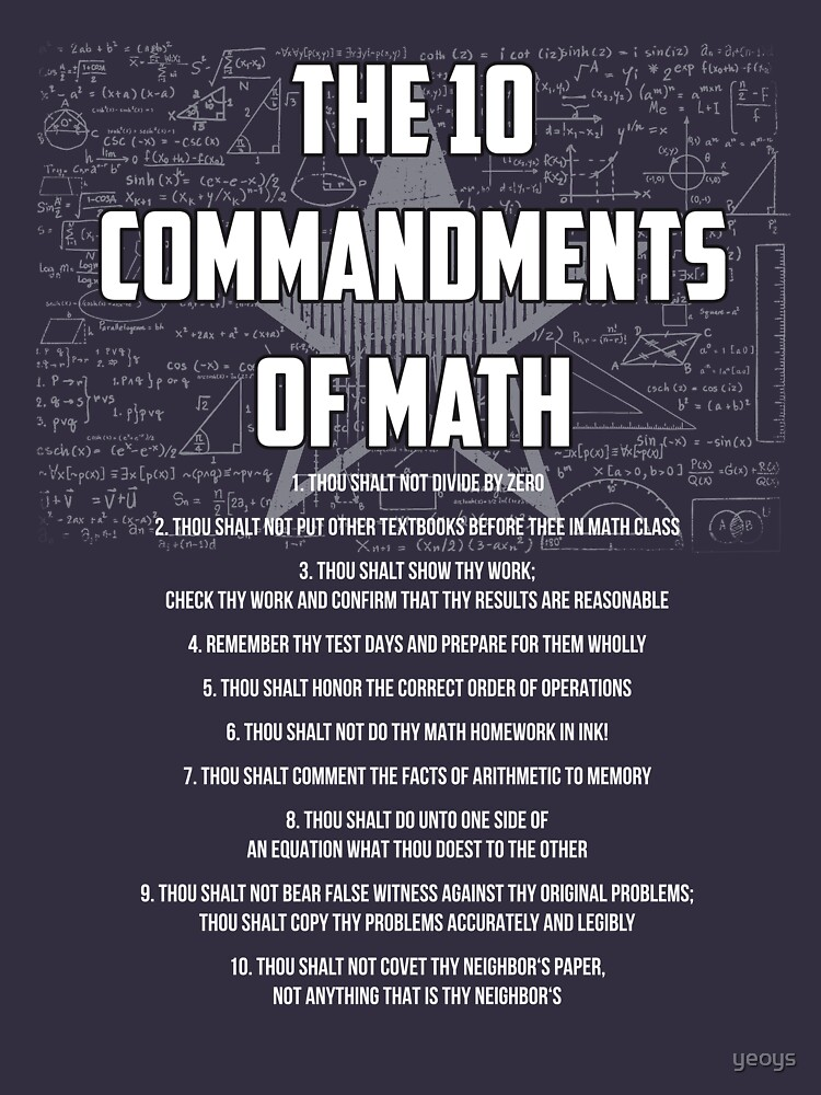 The 10 Commandments Of Math - Funny Mathematics Pun Gift von yeoys