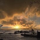 Sunrise and Shrimp Boat by TJ Baccari Photography
