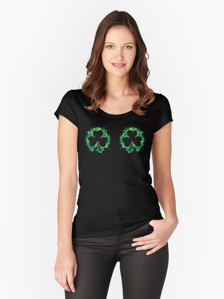 Funny Irish Clover Placement Shirt Women's Fitted Scoop T-Shirt Front
