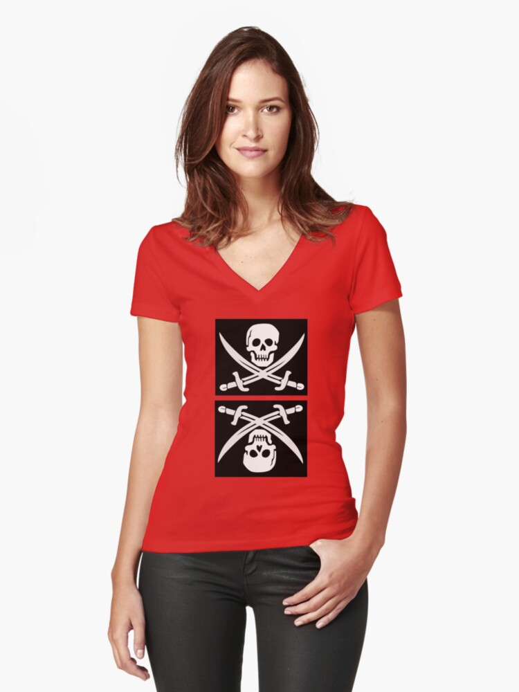 Skull and Crossbones  Women's Fitted V-Neck T-Shirt Front