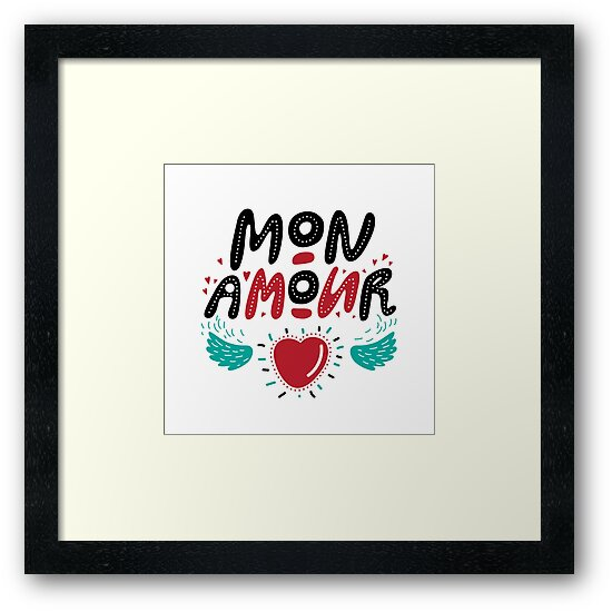 Mon Amour hand drawn  lettering and doodle heart with wings. Valentines day card. For invitations, postcards and posters. by svetichch