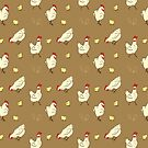 Mama Hen & Baby Chick - Chicken Pattern, Farm Animals by Vena Carr