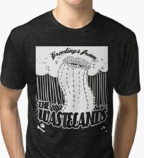 Greetings from the Wastelands white linework Tri-blend T-Shirt