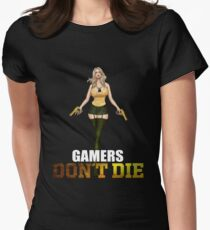 Gamers don´t die Girl with Deagle Women's Fitted T-Shirt