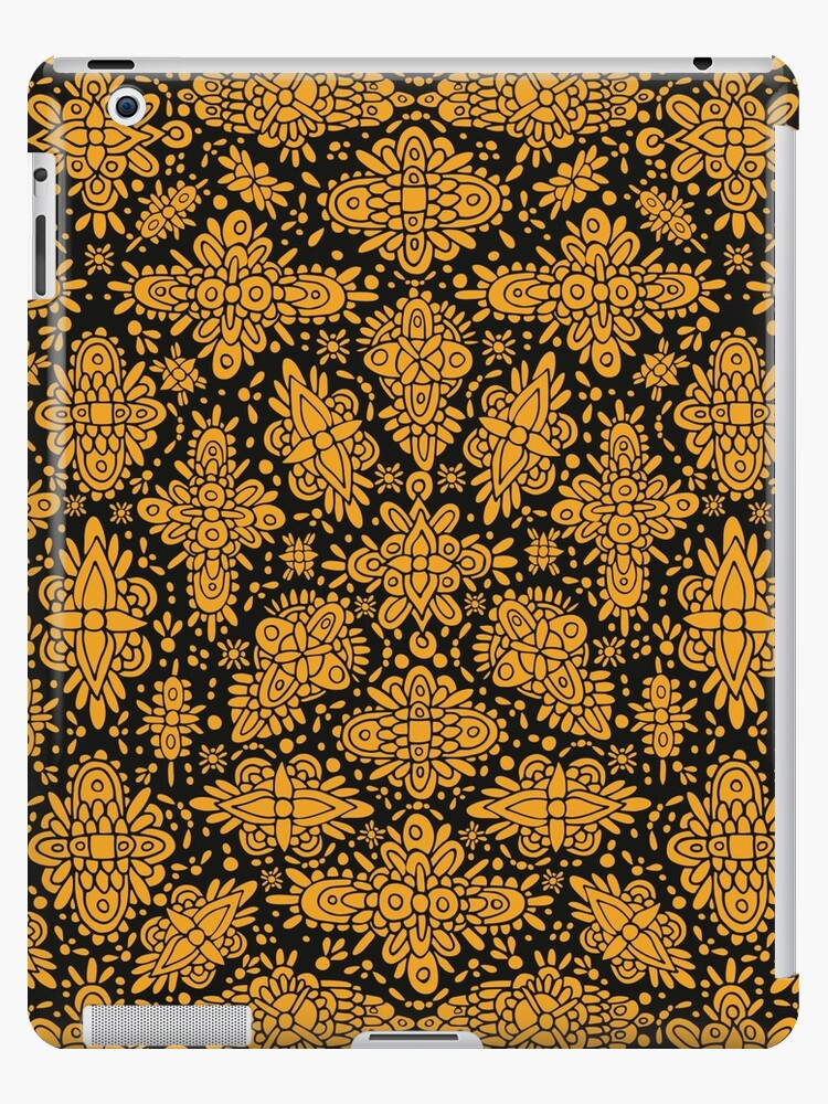 Mustard Yellow & Black Absract Symmetrical Pattern by somecallmebeth