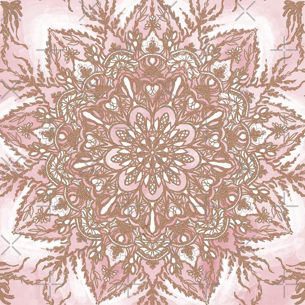 Floral Rose Gold Mandala by Savi Singh