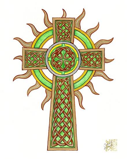 Celtic Cross with Golden Sun Rays