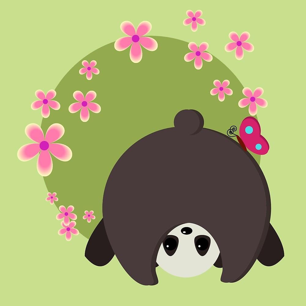 Cute Panda Pink Flowers Normal is Boring by pdgraphics