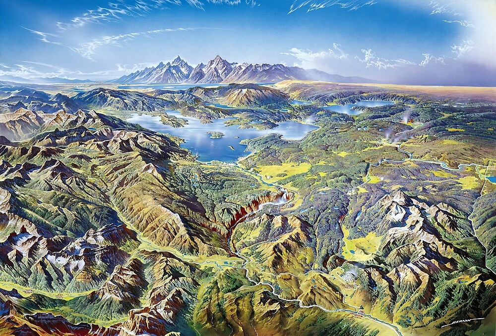 Heinrich Berann Yellowstone National Park Relief Map by pdgraphics