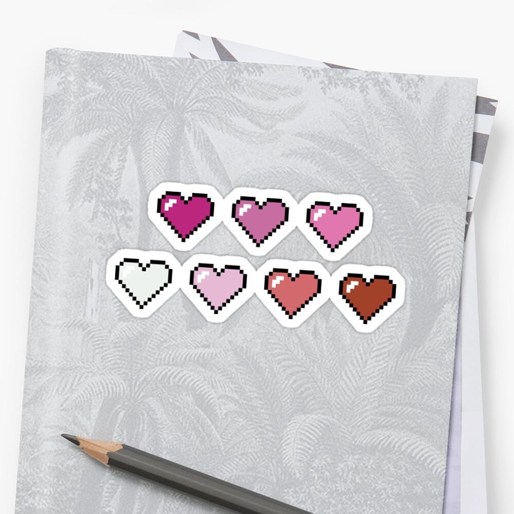 Lesbian Pixel Hearts by porcupride