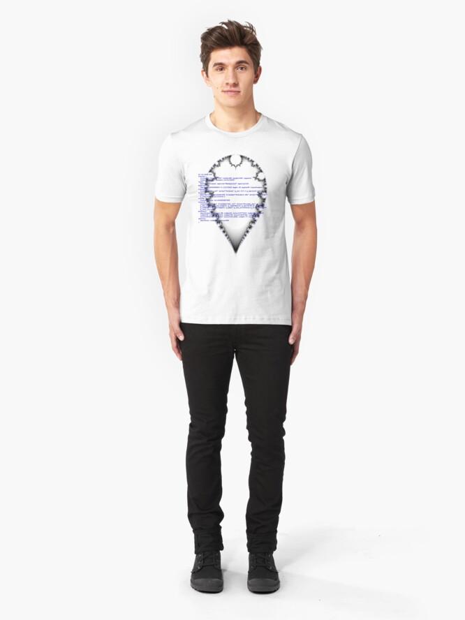 Alternate view of Self documenting inverted mandelbrot   Slim Fit T-Shirt
