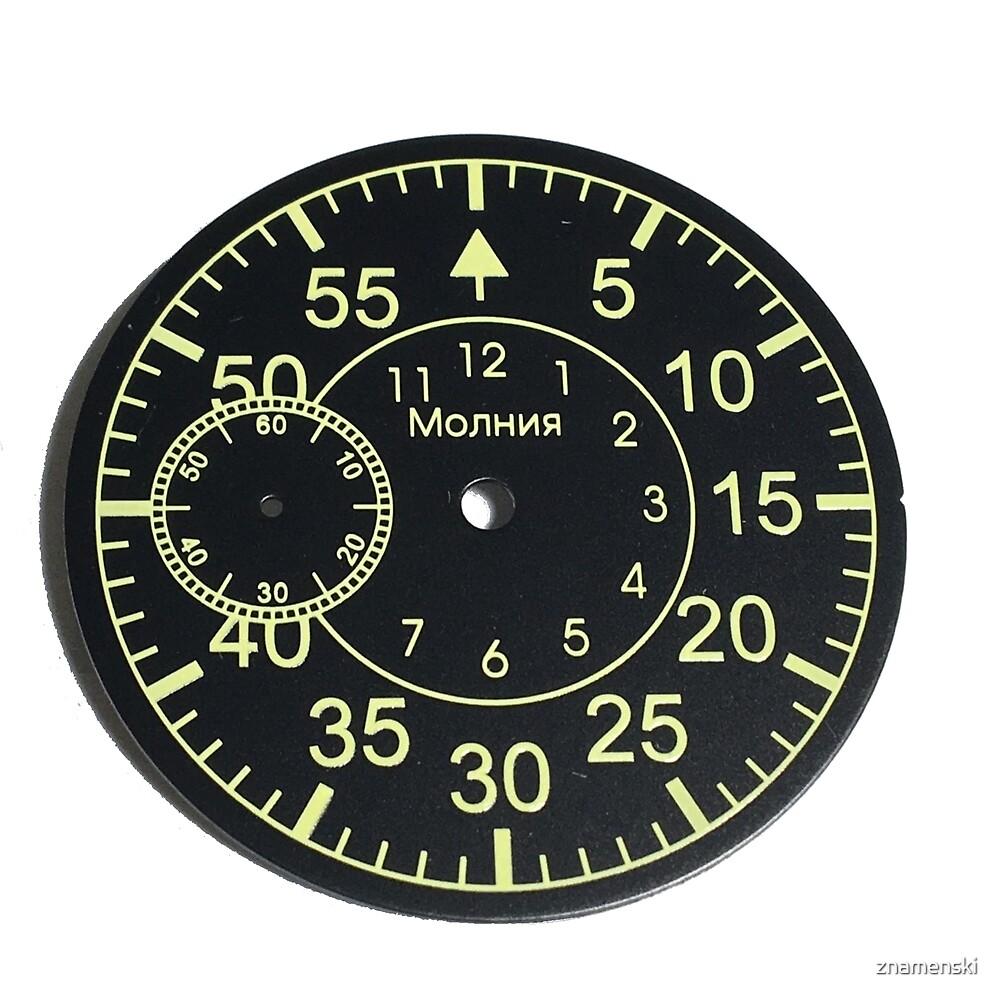 Old Russian stopwatch's dial Циферблат старинного русского секундомера  by znamenski