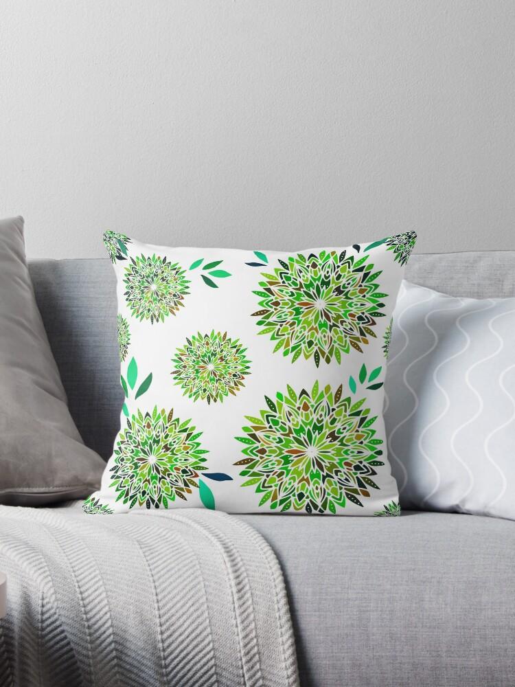 Green Mandala Flowers Pattern on White by Bleshka-Design