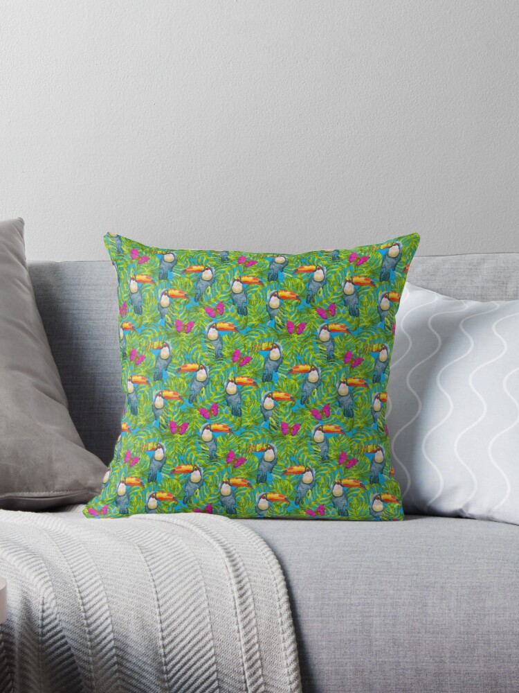Toucan and Butterfly Rain Forest Pattern by Bleshka-Design