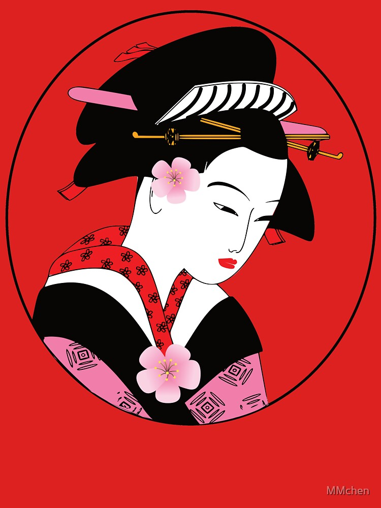 Geisha, Beautiful Lady from Japan Wearing a Kimono, Gift by MMchen