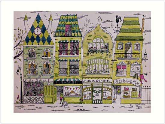 Wonky town houses by Judit Matthews