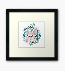 He Has Made Everything Beautiful In Its Time Bible Verse Floral Design Framed Print