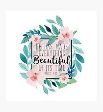 Er hat alles schön in seiner Zeit Bibel-Vers-Blumenmuster gemacht Fotodruck