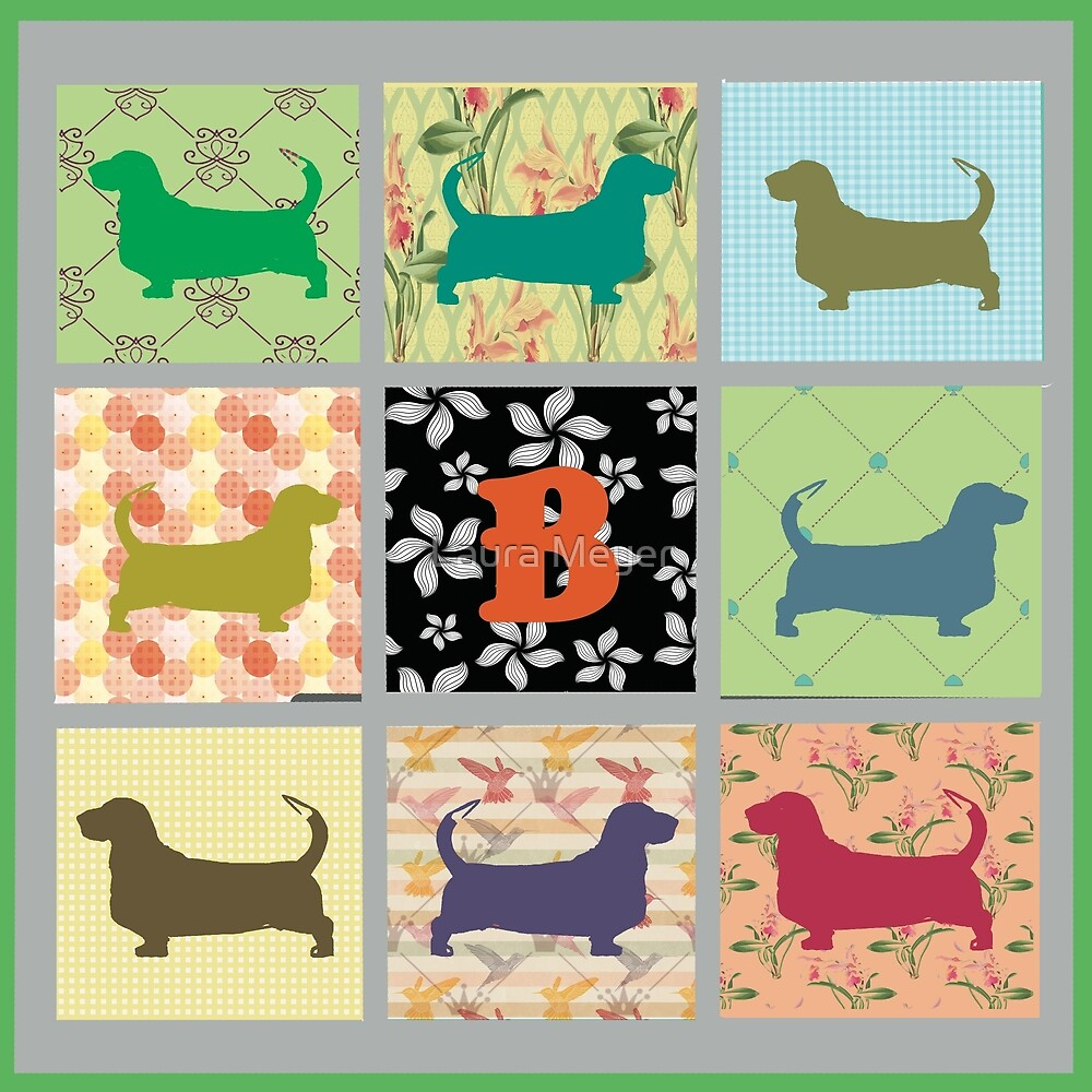 Basset Hound Patchwork by Laura Meyer