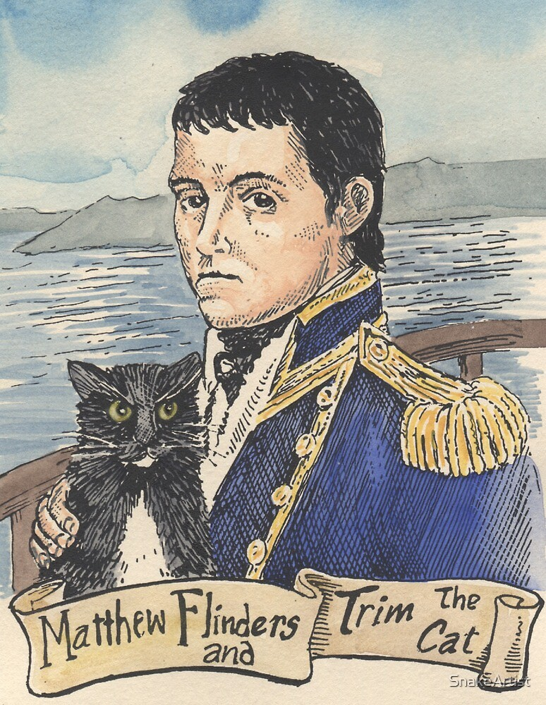 Matthew Flinders and Trim the cat by SnakeArtist