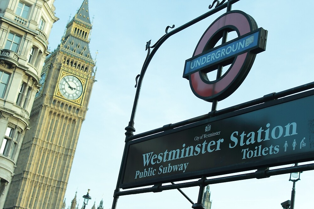 Westminster Station sign & Big Ben by Bereket Kelile