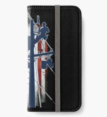 Gift For Lineman - Lineman with American Flag Shirt iPhone Wallet/Case/Skin