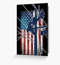 Gift For Lineman - Lineman with American Flag Shirt Greeting Card