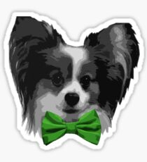 Dapper Papillon with Green Bowtie Sticker