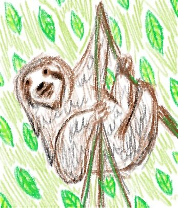 Hanging sloth by peanutfreeart