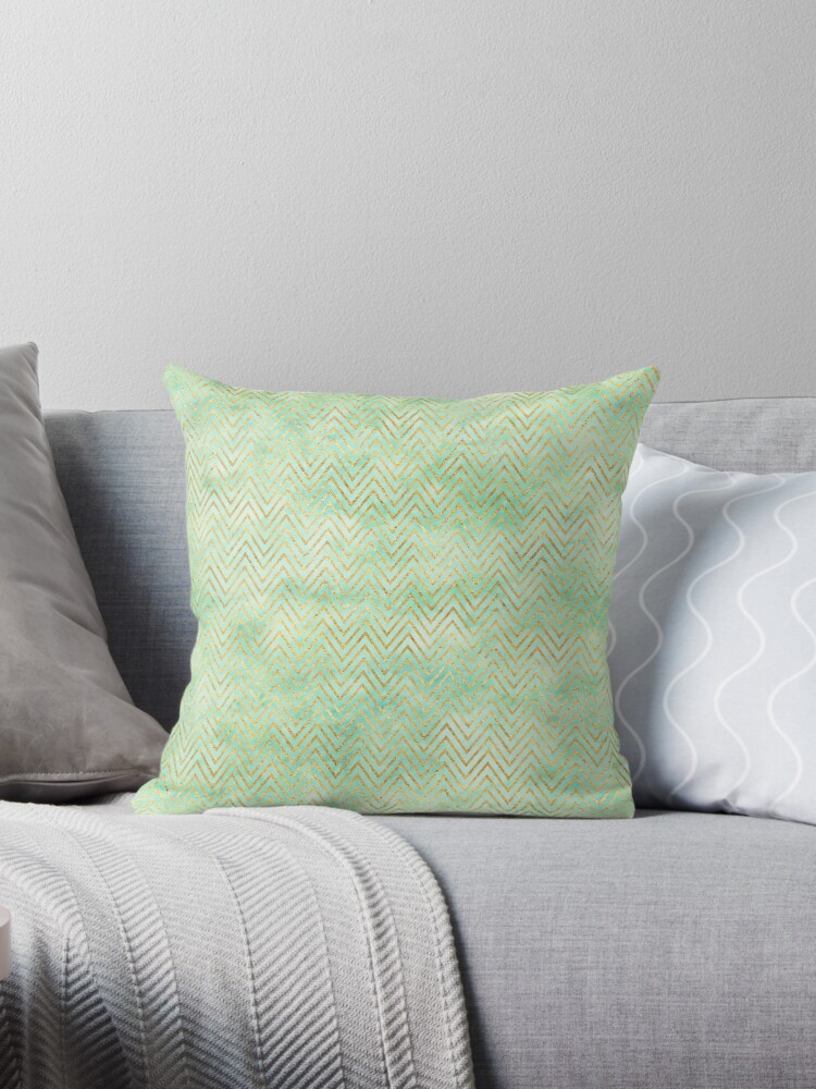 Mint Green Gold Chevron Stripes by pencreations