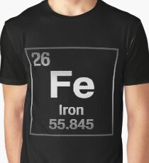 Periodic Table of Elements - Iron (Fe) on Black Canvas Graphic T-Shirt