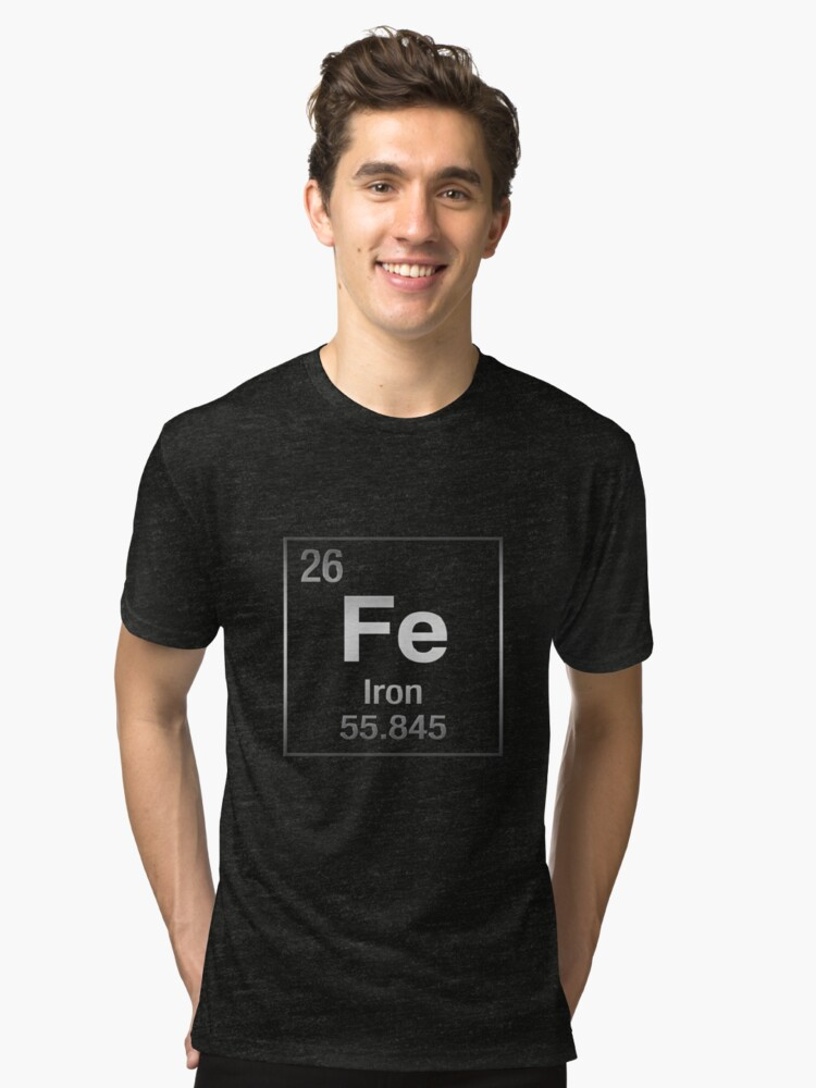 Periodic Table of Elements - Iron (Fe) on Black Canvas Tri-blend T-Shirt Front