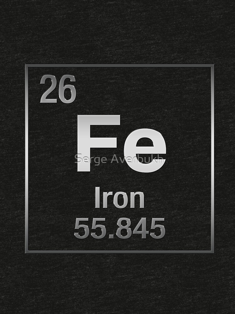 Periodic Table of Elements - Iron (Fe) on Black Canvas by Captain7