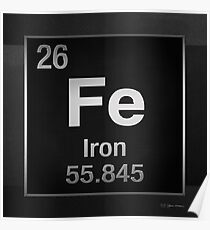 Periodic Table of Elements - Iron (Fe) on Black Canvas Poster
