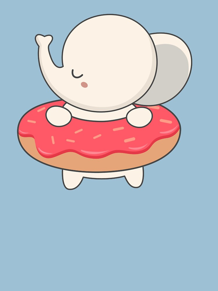 Kawaii Cute Elephant With Donut by happinessinatee