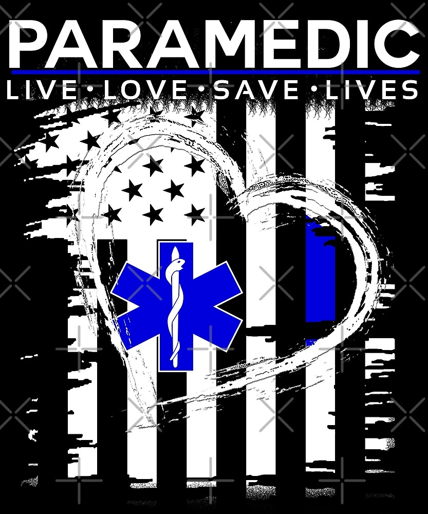 Paramedic US Flag Heart by PopArtDesigns