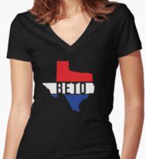 Beto Texas Red White Blue Patriotic T-Shirt For US Senate Senator Democrat Turn Texas Blue Democratic Party Women's Fitted V-Neck T-Shirt