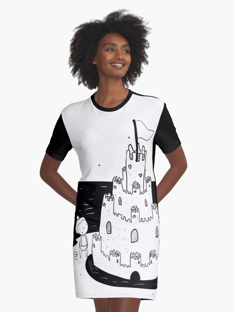 Girl at the beach making a sandcastle  Graphic T-Shirt Dress Front