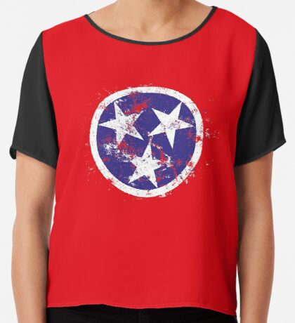 Distressed State Flag Of Tennessee Chiffon Top