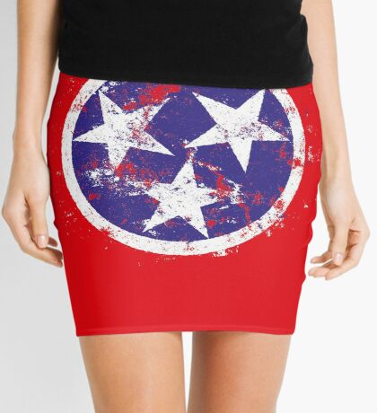 Distressed State Flag Of Tennessee Mini Skirt