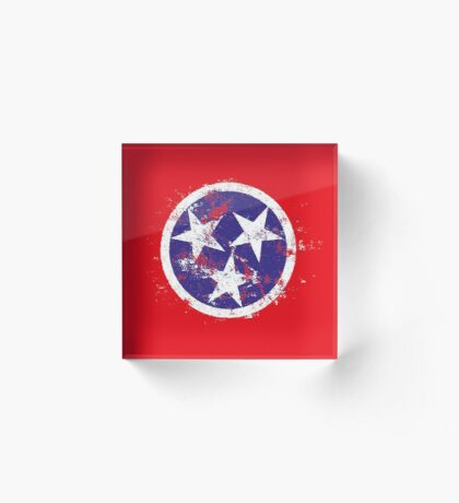 Distressed State Flag Of Tennessee Acrylic Block