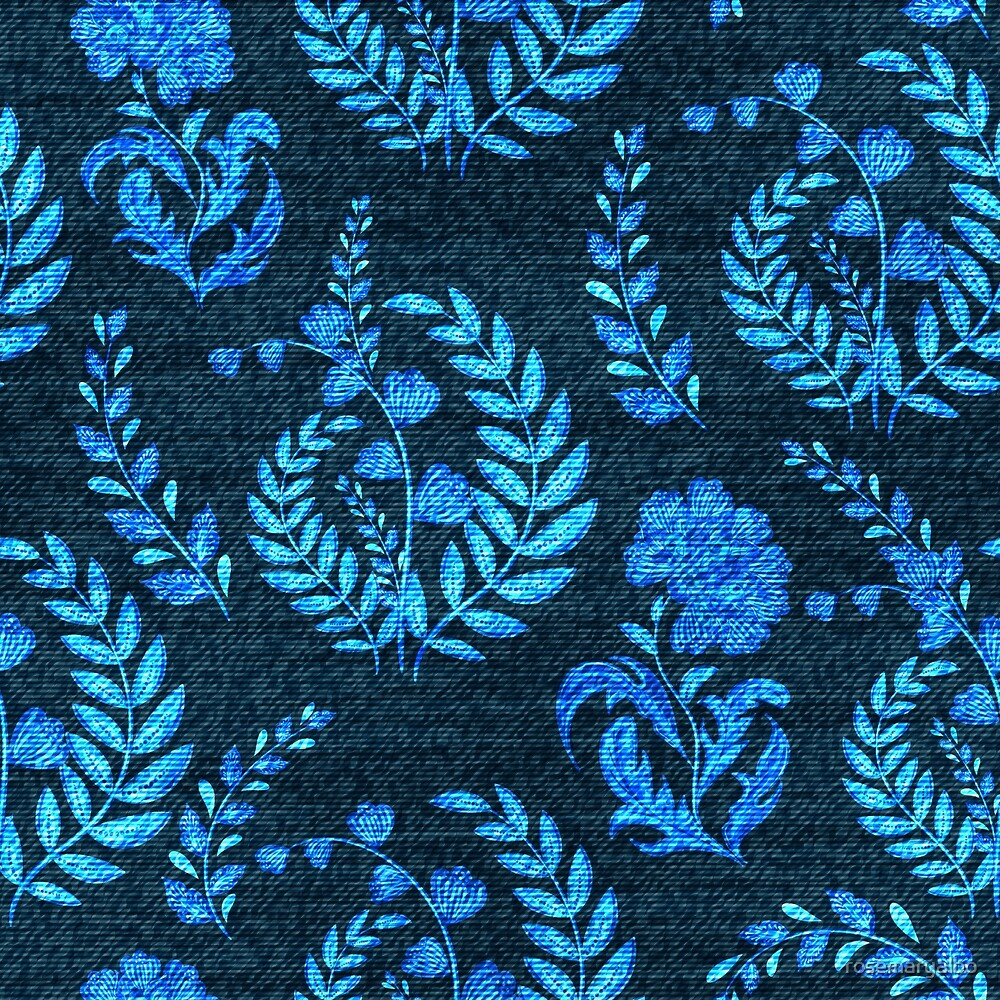 Bright Blue Florals on Blue Jean  by rosemaryalbo