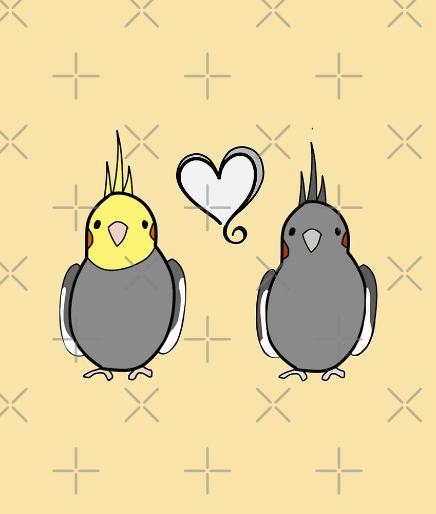 Grey Cockatiels in Love by VivianRosalee